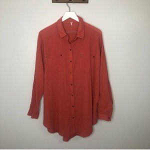 Free People Oversized Textured Button Up Blouse
